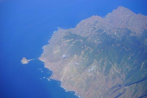 Tenerifė,roques de anaga,roque de tierra,roque de dentro,oro vaizdas,Anaga kalnai,sala,Kanarų salos,skristi,kranto,kalnai,kalnas rytinė pakrantė į šiaurę