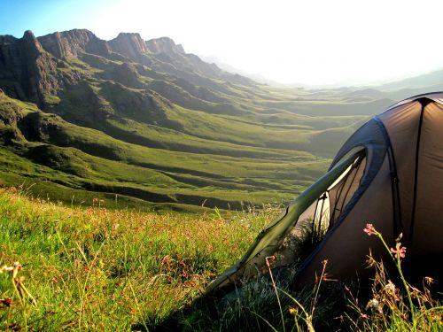 palapinė, kalnai, sani pass, pietų Afrika, lesotho, vista, vaizdas, žygiai, žygis, lauke, kempingas, kalnų praėjimas