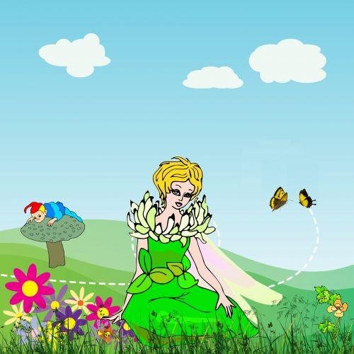 fėja, sodas, pavasaris, fėja & nbsp, pasaka, spalvinga, gėlės, princesė, fėjų žemė