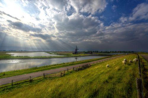 texel,vėjo malūnas,Nyderlandai,vanduo,dangus,oro temperamentas,saulė,spinduliai,pieva,dike,saulės šviesa,nuotaika,šviesa,atgal šviesa