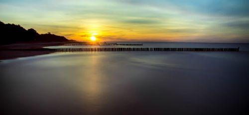 Baltijos jūra,saulėlydis,Baltijos jūros pakrantė,kraštovaizdis,jūra,trauktis į jūrą,šiaurinė Lenkija,papludimys