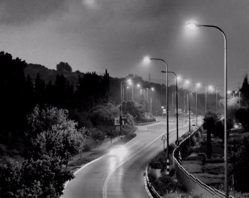 naktis, važiuoti, vienas, greitkelis, baugus, miglotas, tylus, vakaras, juoda & nbsp, balta, automobilis, gabenimas, vienišas, apokalipsė, naktinis važiavimas