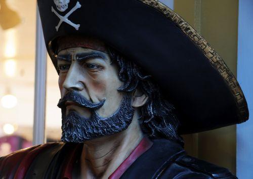 piratas, piratai, vyras, piratai & nbsp, karibai, kaukolė, kryžminiai kaulai, barzda, skulptūra, piratas
