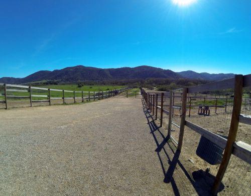 ranča, ranches, kaimas, Fisheye, lauke, medžio tvora, tvora, Šalis, Laisvas, viešasis & nbsp, domenas, kalnai, mėlynas & nbsp, dangus, ūkis, ranča
