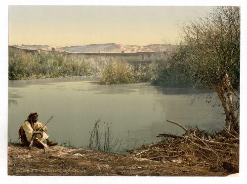viešasis & nbsp, domenas, vintage, spaudiniai, fotokromatas, nuotrauka, fotomechaniniai, istorinis, senovės, senas, vietos, lauke, scena, vaizdingas, jordan, upė, vanduo, Izraelis, Vidurio rytui, asmuo, žmonės, vyras, sėdi, kraštovaizdis, kaimas, upė jordan
