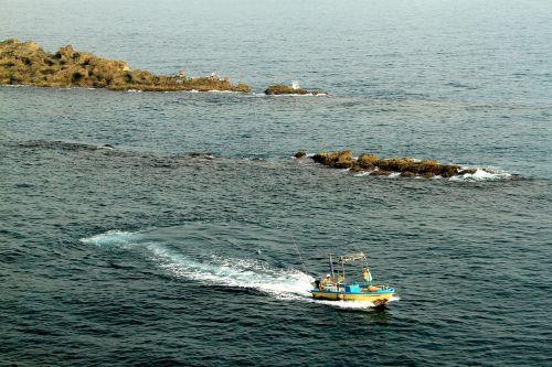 jūrų valtys,vandens uolos bangos,kreivė,mėlyna Žalia,įgula