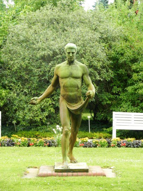 statula,statula,Patinas,liemuo,plikas,nuogumas,ornamentas,skulptūra,žalias,parkas,figūrėlė,statula,statulėlė