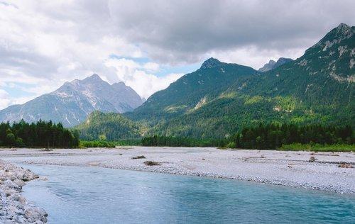 Tirolio Lech slėnis, Austrija, Tyrol, Lech, upė, vandenys, vandens, kalnų, miškas, medžiai, srautas, Lech slėnis, forchach, Alpių slėnis, slėnis, vasara
