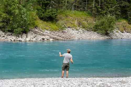 Tirolio Lech slėnis, Austrija, Tyrol, Lech, upė, vandenys, vandens, kalnų, miškas, medžiai, srautas, Lech slėnis, forchach, Alpių slėnis, slėnis, vasara, žvejys, žvejybos, žuvis, meškerė, žvejys, Musė