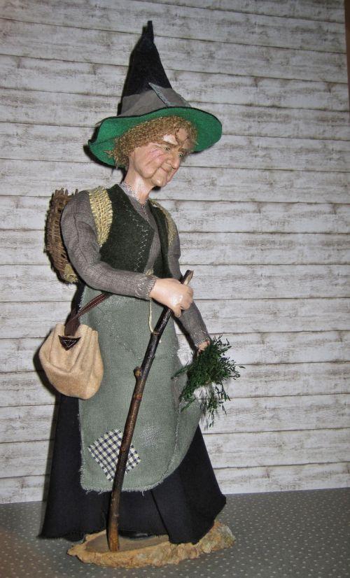 ragana, žolelių ragana, raganos skrybėlė, žolelės, miško ragana, dėvėti, maišas, lėlė