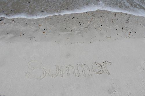 vasara, žodis, papludimys, banga, smėlis, žodis vasara
