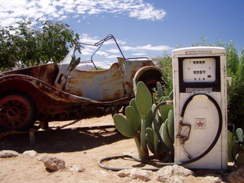 ištroškęs,palikti,automatinis,senas,degalinės,Namibija,kaktusas