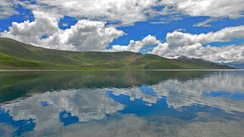 tibetas,Yamdrok,kraštovaizdis,Bergsee