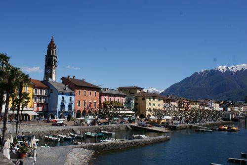 Ticino, Ascona, Šveicarija, Bankas, Ežeras