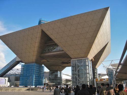 tokyo big view Japan,pastatas,struktūra,apversta piramidė,tarptautinis parodų centras,tokyo metropolijos zona,koto,ariake,Japonija,mėlynas dangus