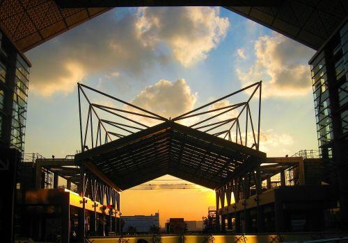 tokyo big view Japan,pastatas,struktūra,vakaras,tarptautinis parodų centras,tokyo metropolijos zona,koto,ariake,Japonija,debesis,saulėlydis