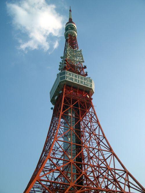 Tokijo bokštas,giedras dangus,diena