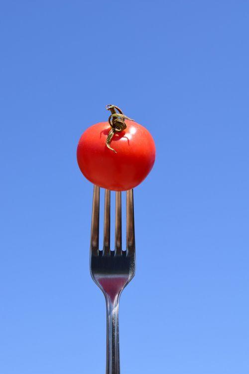 pomidoras,šakutė,valgyti,Uždaryti,metalinis šakutė,stalo įrankiai,raudona