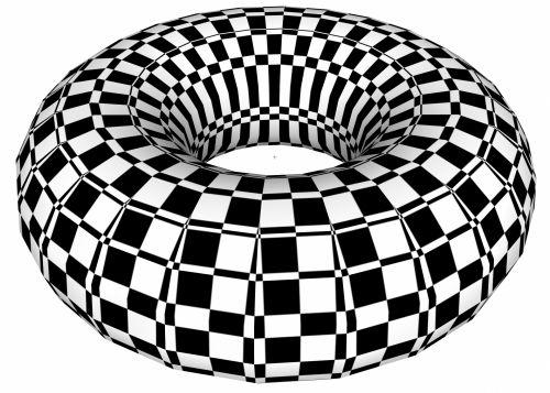 piešimas, Toras, 3d, figūra, juoda, balta, tikrintojas, šaškių lentelė, torus