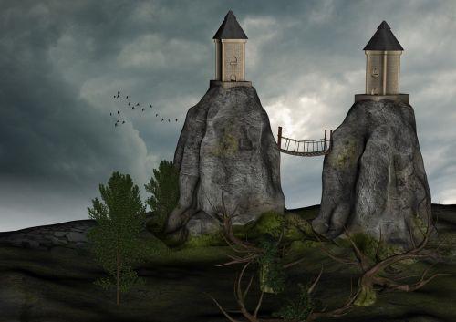 bokštai,kalnai,kraštovaizdis,fantazija,lipti,pastatas,stebėjimo bokštas,akmuo,tvirtovė,dangus,senas,mistinis,paukščiai,debesys,senas medis,senoji pilis,miškas,niūrus,gamta,atmosfera,apšvietimas,grasinanti,kontrastas