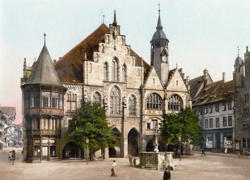 Miesto Rotušė, Hildesheimo Vokietija, 1900, Fotochromas, Vokietija, Miestas, Architektūra
