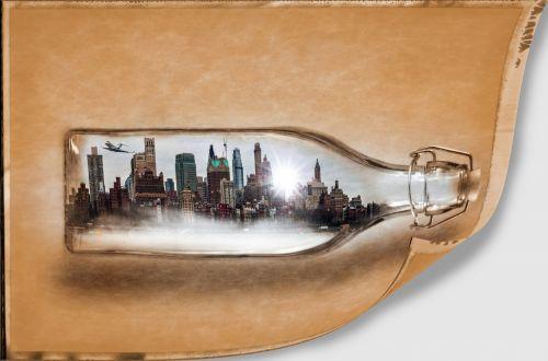 buteliuose, Miestas, menas, abstraktus, namas, biuras, butelis, dangoraižiai, fonas, miestas, miestas butelyje