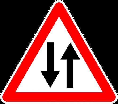 kelio zenklas,ženklas,dvipusis eismas,kelio ženklas,kelio ženklas,įspėjamasis ženklas,kelio ženklas,eismo ženklas,įspėjimas,raudona,dviem keliais,nemokama vektorinė grafika
