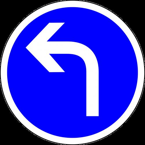 kelio zenklas,pasukti į priekį,Pasukite į kairę,kairėje,mėlynas,mėlynas ženklas,ženklas,reguliavimo ženklas,kelio ženklas,kelio ženklas,kelio ženklas,eismo ženklas,nemokama vektorinė grafika