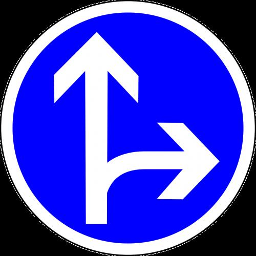kelio zenklas,ženklas,eik tiesiai arba dešinėn,tiesus,teisingai,kryptis,kelio ženklas,kelio ženklas,eismas,kelio ženklas,eismo ženklas,mėlynas,reguliavimo ženklas,nemokama vektorinė grafika
