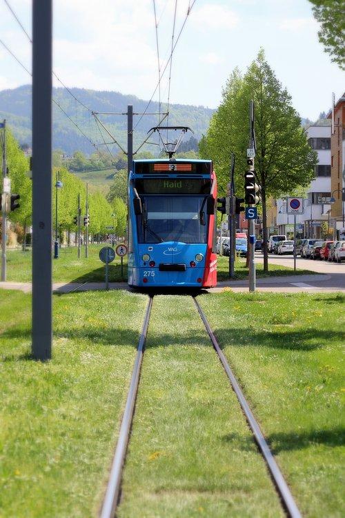 tramvajus, miesto, transporto sistema, viešasis transportas, transporto priemonės, Miestas, Freiburg, gyvenamasis plotas, transporto priemonės, kasdienybė, bėgiai, kontaktinio tinklo, ekologiškai