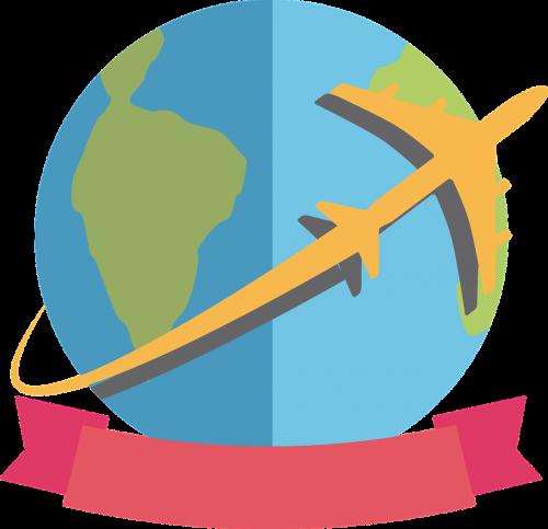 kelionė,pasaulis,aplink pasauli,lėktuvas,logo kelionės,Planeta žemė,logotipas,nemokama vektorinė grafika