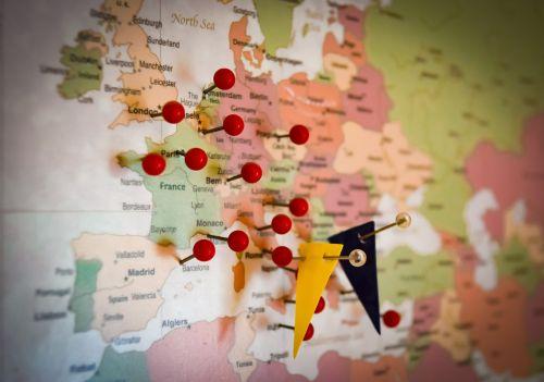 kelionė,Kelionės tikslas,Europa,europietis,atostogos,planą,kelionė,kelionė,keliautojas,smeigtukai,žemėlapis,vėliava,šventė,kelionė