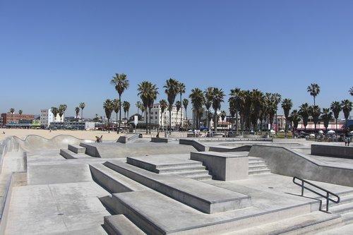 kelionė, architektūra, Turizmas, Miestas, dangus, Venice Beach, papludimys, riedlentė, riedlenčių parkas, laiptų, atbrailos, perėjimas, California, palmių, medis, geležinkelių, vasara, linksma, RAD
