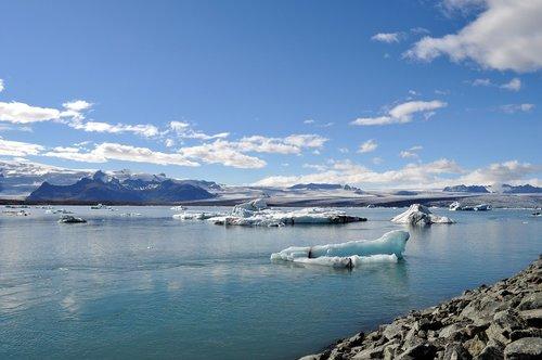 kelionė, pobūdį, dangus, ledas, vandens, mėlyna, Islandija, vasara, marių, Jokulsarlon