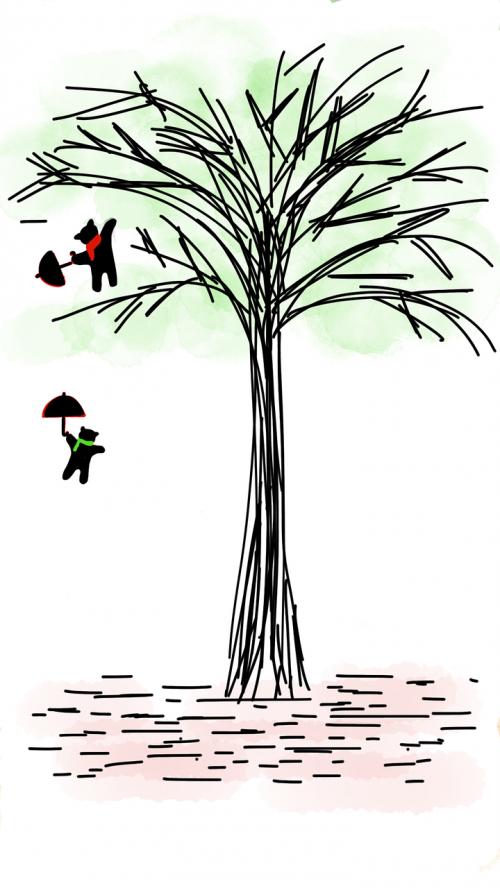 medis,žalias medis,meškiukas,skristi,mielas lokys,skėtis,parašiutas,filialas,lapai,žalias,augalas,žaismingas,lapija,šviežias,žalias lapas,pavasaris,vasara,žavinga,sodrus,makaronai,piešimas,eskizas