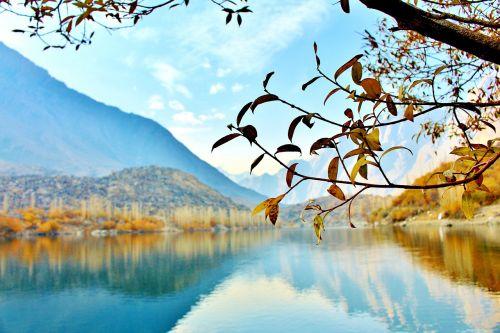 medis,ežeras,Pakistanas,gamta,kraštovaizdis,miškas,kelionė,ruduo,kalnas,slėnis,Rokas,piko,vanduo,geltona,asija,nuotykis,spalvinga,kalnai,karakorum,mėlynas,viršutinė kachūros ežeras,skardu,indus upė,šangrilo ežeras