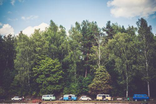 medžiai,automobiliai,furgonai,kempingas,kraštovaizdis,transporto priemonė,kelionė,gabenimas,kelionė,automobilis,kelionė,retro,transportas