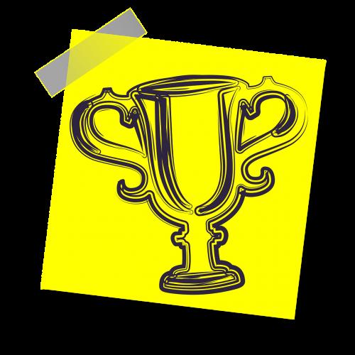 trofėjus,apdovanojimas,varzybos,sėkmė,nugalėtojas,Sportas,pasiekimas,premija,vieta,čempionas,taurė,geltona lipdukė,pastaba,rašyti pastabą