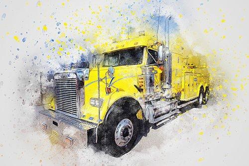 Sunkvežimis, gervė, menas, Anotacija, akvarelė, Vintage, spalvinga, meninis, dizainas, Aquarelle, dažų Šļakstēties, skaitmeninis menas, skaitmeninis dažai, piešimo, Nemokama iliustracijos