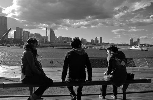 Draugystė, Jokohama, Japonija, draugai, debesys, tikra draugystė