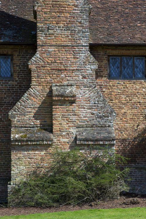tudor mūrinis, kaminas, architektūra, molio plytelių stogas, sissinghurst pilis, kent, nacionalinis pasitikėjimas