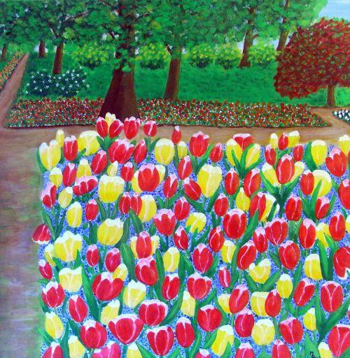 tulpės,gėlės,parkas,dažymas,vaizdas,menas,dažyti,spalva,meniškai,paveikslų tapyba,menininkai,kompozicija,kūrybiškumas,meno kūriniai,amatų,drobė,dailininkas,kilniai,grafinis