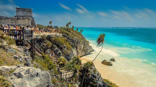 tulum,Meksika,papludimys,paplūdimys Meksikoje,kraštovaizdis,vandenynas,azure jūra,Smėlėtas paplūdimys,saulė,žydras vanduo,palma,palmės,atostogos,jūros dugnas,egzotika,Maya,mayans,yukatanas