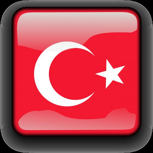 Turkija,vėliava,Šalis,Tautybė,kvadratas,mygtukas,blizgus,nemokama vektorinė grafika