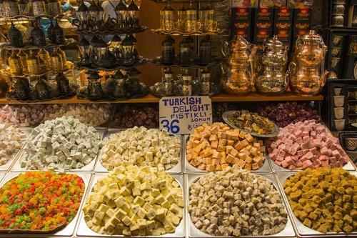 Turkijos malonumas, konditerijos, maisto, malonumas, Sultan, jelibon, saldainiai, skanus, Turkiška kava, Konya, saldus, baklava, mitybos, graikinis riešutas