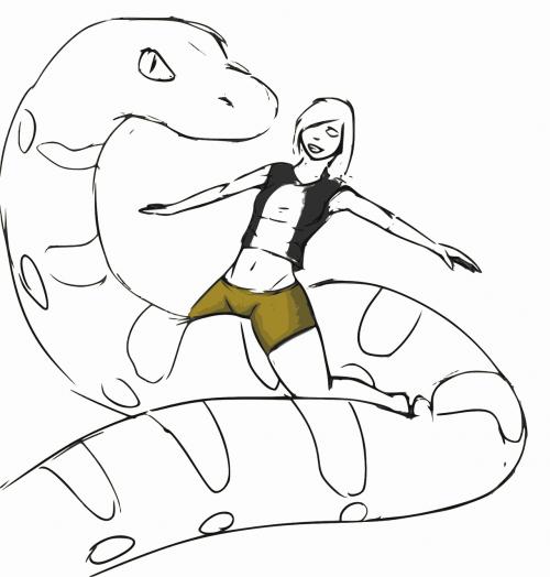Tux,tux pingvinas,python,linux,mergaitė,eskizas,tux ant python,python ir linux,mergina gyvate,programavimas,nemokama vektorinė grafika