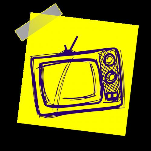 tv,televizija,gyvenimo būdas,žiūrėti,ženklas,pastaba,geltona lipdukė,rašyti pastabą,biuras