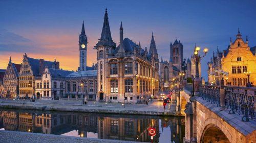 miesto panorama, twilight, vakaras, dusk, saulėlydis, vanduo, atspindys, architektūra, pastatai, viešasis & nbsp, domenas, fonas, tapetai, miesto, gentas, Belgija, Europa, mėlyna & nbsp, valanda, įmonės, kelionė, turizmas, žibintai, Twilight laikas