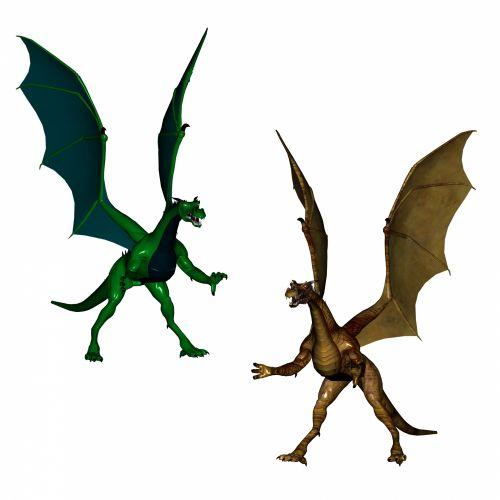 drakonai, auksinis, žalias, auksas, skrydis, skraidantis, 3d, izoliuotas, senovės, tradicija, balta, fonas, legendinis, du drakonai ii