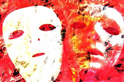 veidas, kaukė, gėlė, gėlių, oranžinė, kaukes, abstraktus, fonas, šiuolaikiška, menas, dažymas, neįprastas, spalva, du veido kaukes
